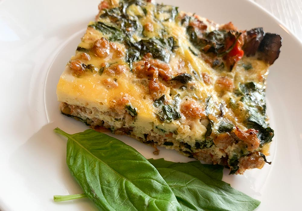 Egg, Sausage, Veggie and Basil Casserole recipe from Oregon Valley Farm