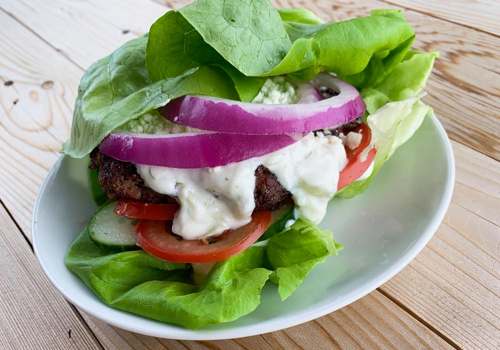 Greek Burgers with Cucumber Sauce recipe from Oregon Valley Farm