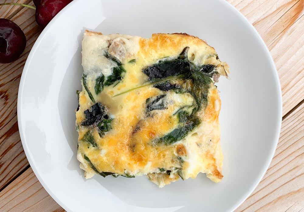 Sausage and Spinach Breakfast Casserole recipe from Oregon Valley Farm