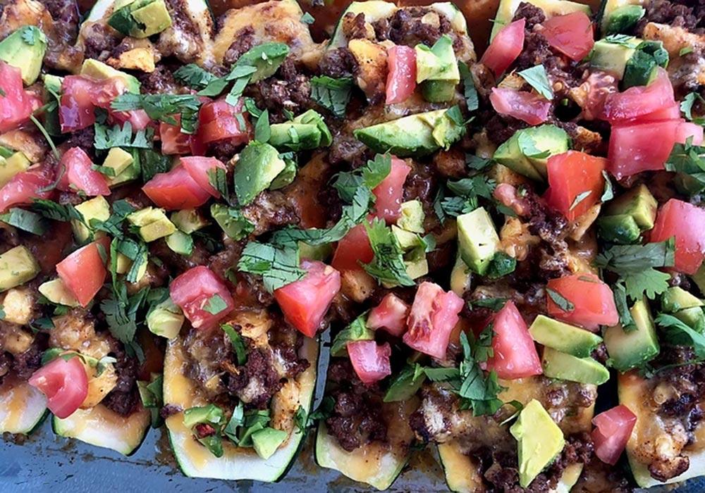 Taco Stuffed Zucchini Boats recipe from Oregon Valley Farm