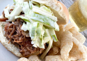 Bacon Bourbon Pulled Pork with Fennel Apple Slaw (Instant Pot Recipe) recipe from Oregon Valley Farm