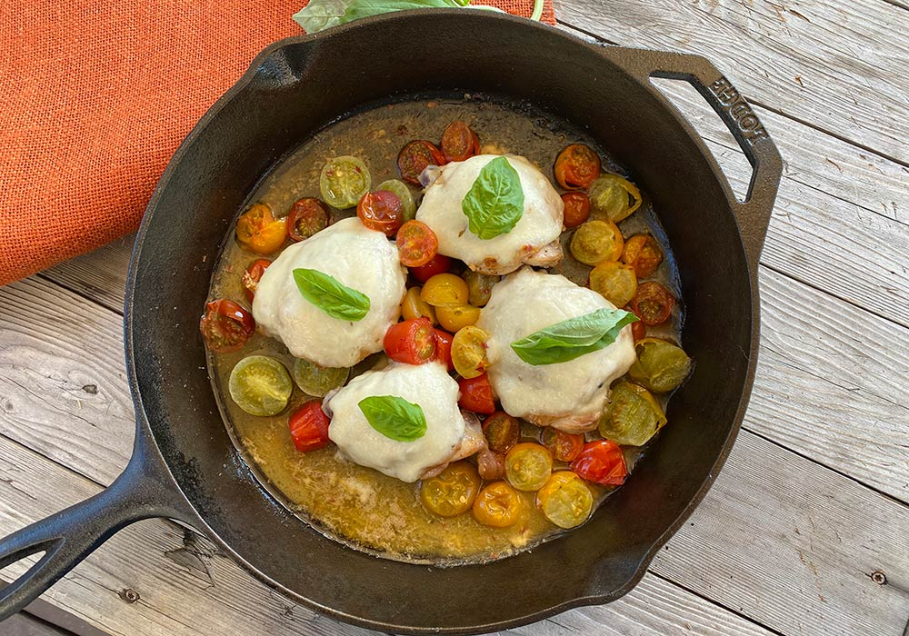 One-Skillet Mozzarella Chicken Thighs (Low Carb/Keto) from Oregon Valley Farm