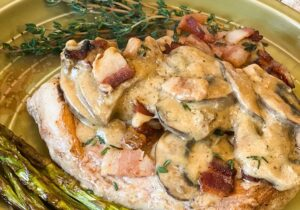 Bacon and Mushroom Pork Chops in Cream Sauce (Low Carb) Recipe from Oregon Valley Farm