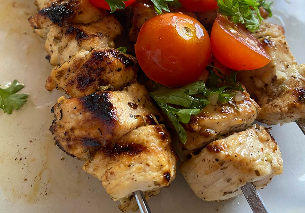 Lemon Chicken Kabobs with Tomato Parsley Salad Recipe from Oregon Valley Farm