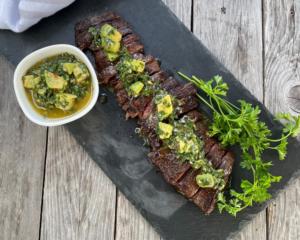 Skirt Steak with Avocado Chimichurri